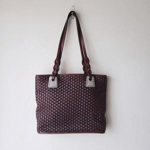 Vintage Brighton Woven Leather Tote Purse